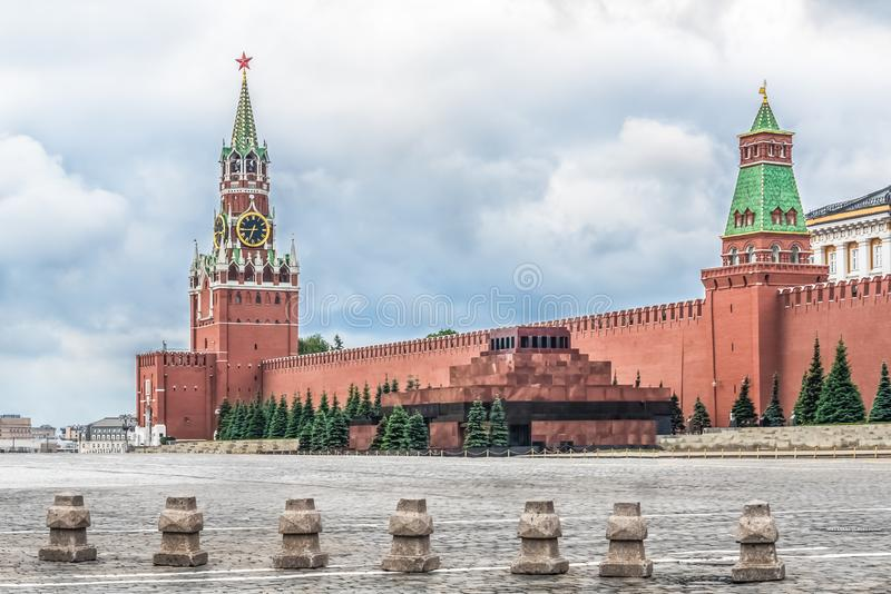 Moscow, Russia, Red square, Kremlin, mausoleum, chimes on the Spasskaya tower. Moscow, Russia, Red square, Kremlin, mausoleum chimes on the Spasskaya tower stock images