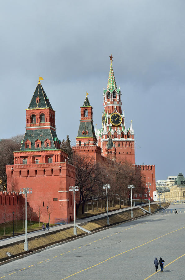 Moscow, Russia, Red square, towers of kremlin stock photos