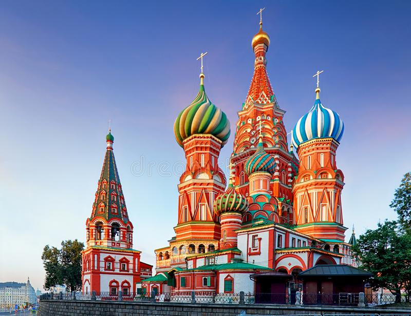 Moscow, Russia - Red square view of St. Basil`s Cathedral.  royalty free stock photo