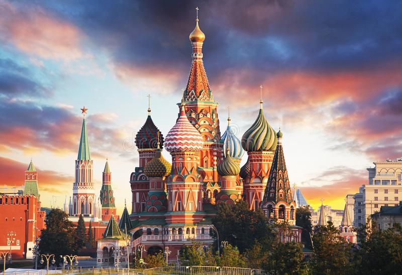 Moscow, Russia - Red square view of St. Basil`s Cathedral at sunrise, nobody.  stock photo