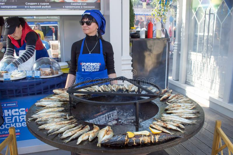 MOSCOW, RUSSIA, Revolution Square, Fish Week stock photography