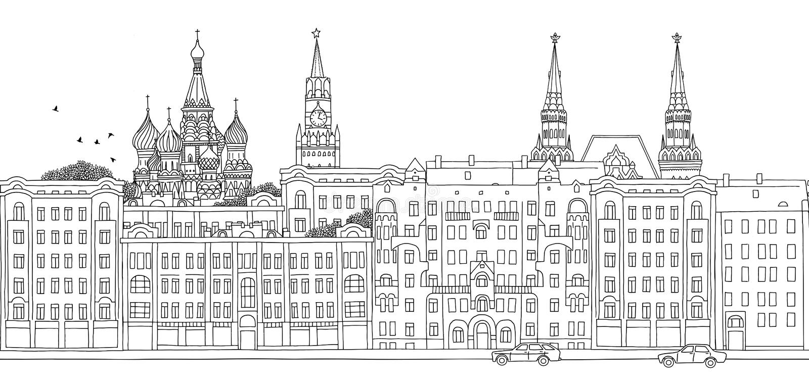 Moscow, Russia - seamless banner. Of Moscow's skyline, hand drawn black and white illustration royalty free illustration