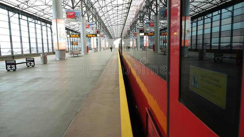 Moscow. Russia-September 2018: Aeroexpress at Sheremetyevo international airport station in Moscow stock image