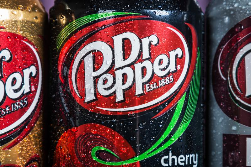 Can Dr. pepper drink with different flavor are available royalty free stock image