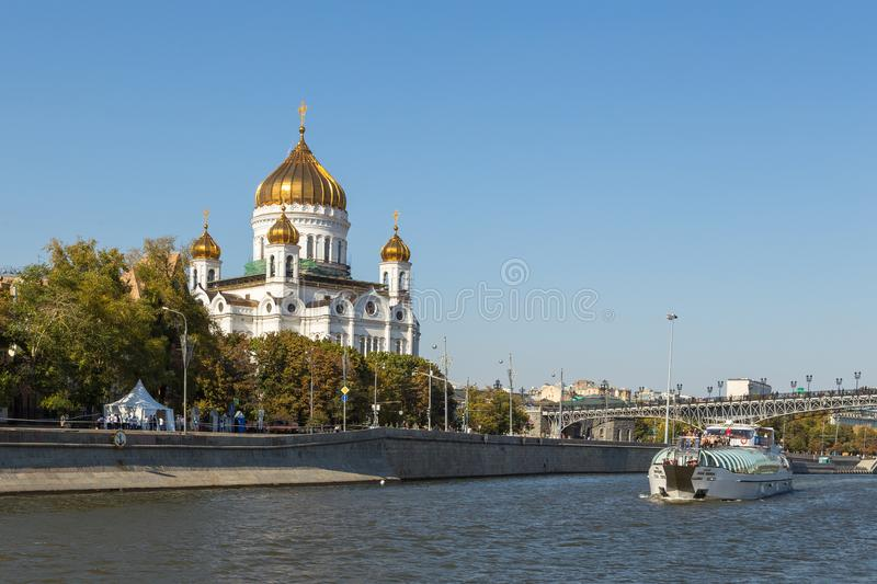 The Cathedral of Christ the Savior, Russian Orthodox cathedral in Moscow, Russia. royalty free stock photo