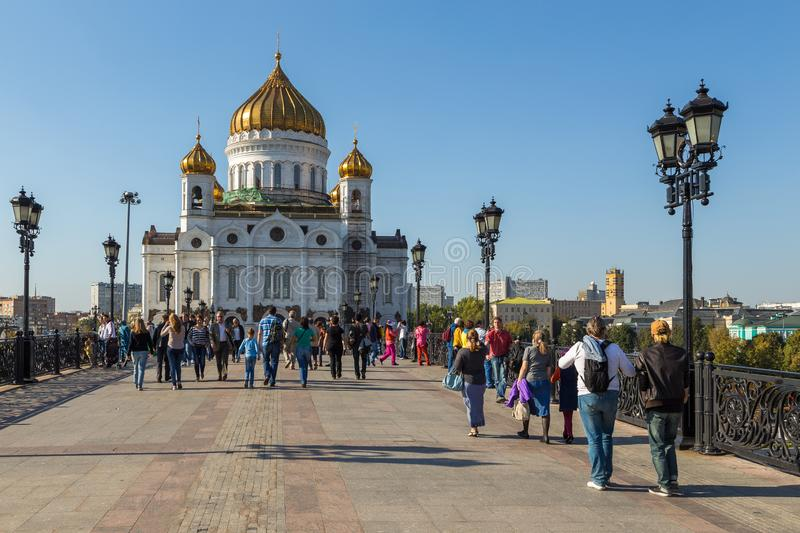 The Cathedral of Christ the Savior, Russian Orthodox cathedral in Moscow, Russia. royalty free stock images
