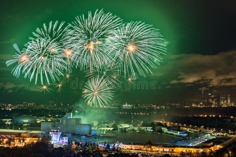 Colorful fireworks for free open air international festival Circle of light. stock images