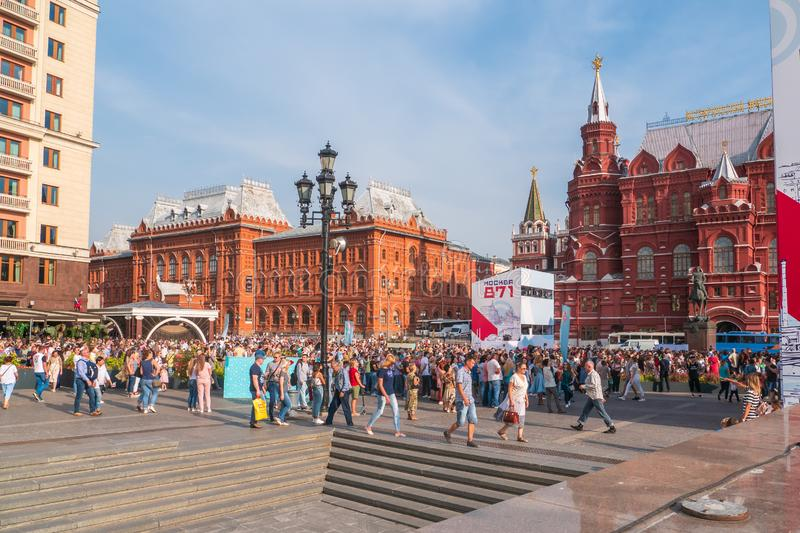 Moscow, Russia - 9 September 2018 : Crowds of walking people, tourists in downtown of Moscow near Red Square royalty free stock images