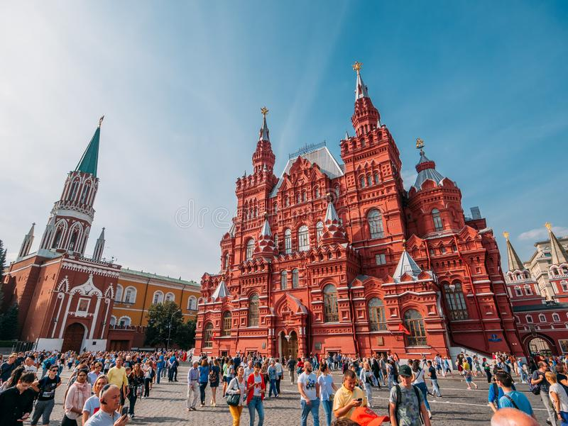 Moscow, Russia - 9 September 2018 : Crowds of walking people, tourists in downtown of Moscow near Red Square royalty free stock photos