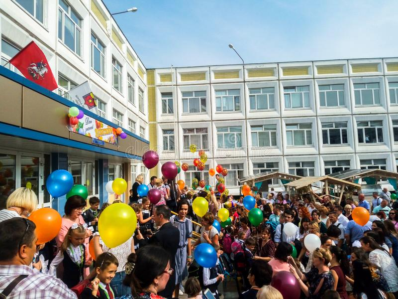 MOSCOW, RUSSIA,SEPTEMBER ,3.2018:Holiday knowledge day in one of the Moscow schools of the Western district.Holiday September 1 stock photo