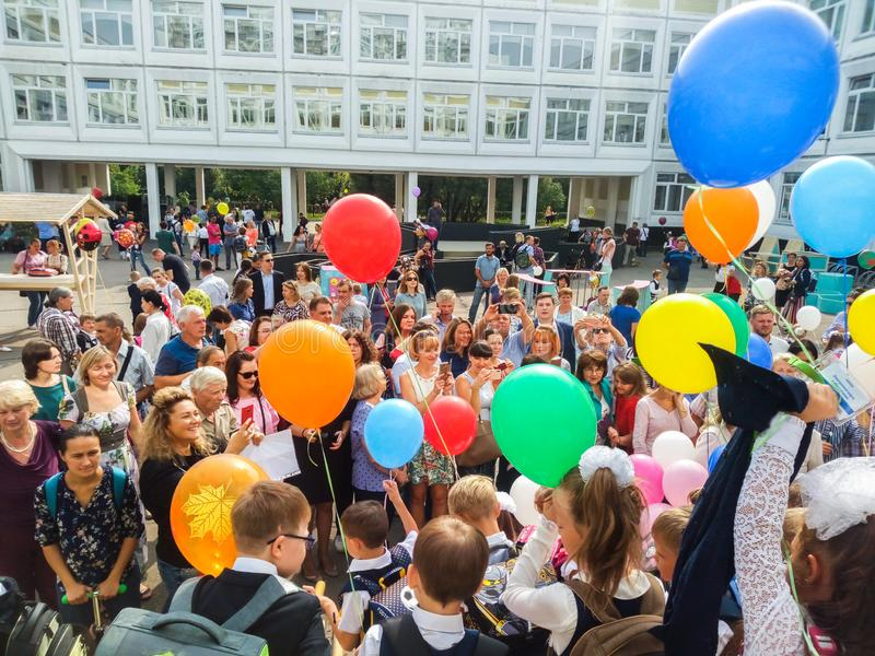 MOSCOW, RUSSIA,SEPTEMBER ,3.2018:Holiday knowledge day in one of the Moscow schools of the Western district.Holiday September 1 royalty free stock photography