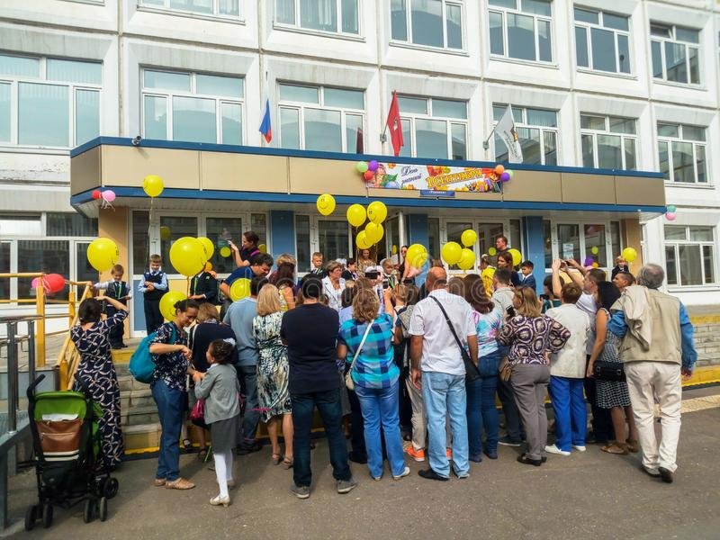 MOSCOW, RUSSIA,SEPTEMBER ,3.2018:Holiday knowledge day in one of the Moscow schools of the Western district.Holiday September 1 stock photos