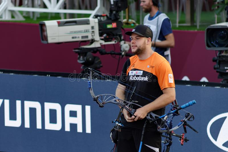 Moscow, Russia, September 06, 2019. MOSCOW HYUNDAI ARCHERY WORLD CUP, men from different countries compete in archery stock photography