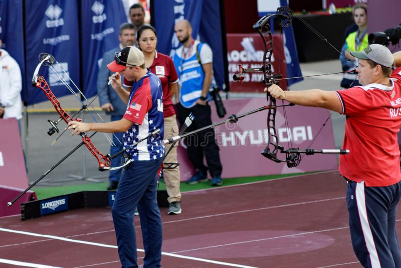 Moscow, Russia, September 06, 2019. MOSCOW HYUNDAI ARCHERY WORLD CUP, men from different countries compete in archery royalty free stock photo