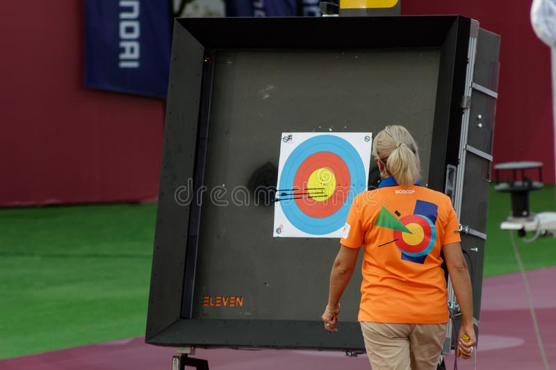 Moscow, Russia, September 06, 2019. MOSCOW HYUNDAI ARCHERY WORLD CUP, men from different countries compete in archery royalty free stock photos