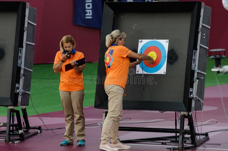 Moscow, Russia, September 06, 2019. MOSCOW HYUNDAI ARCHERY WORLD CUP, men from different countries compete in archery stock image