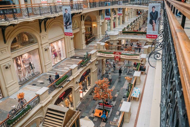 Moscow, Russia - September 2018 : Interior of GUM, Moscow Central Universal Department Store, Large Mall in center of Moscow stock photo