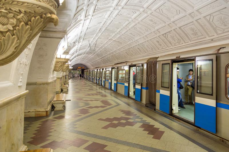 Interior of the metro station Belorusskaya in Moscow, Russia. royalty free stock images