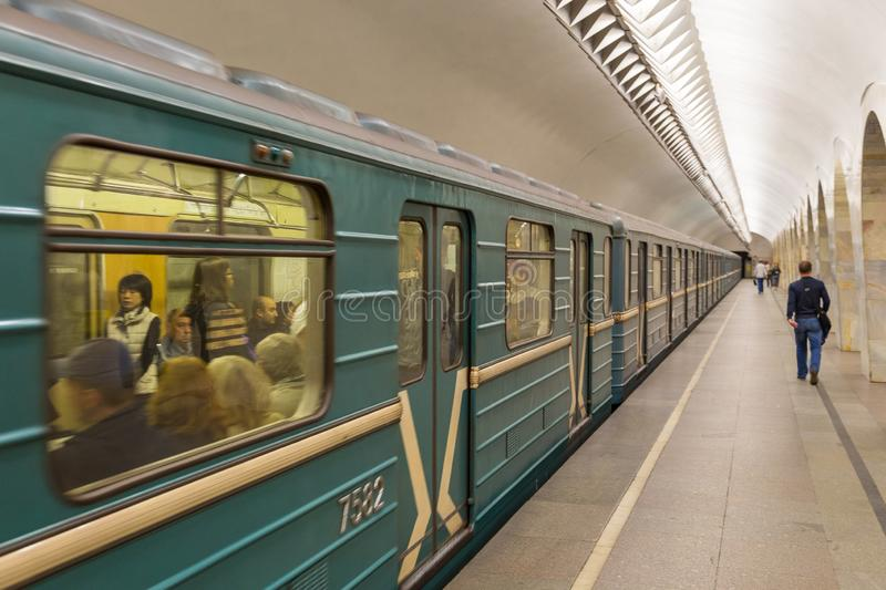 Interior of the metro station in Moscow, Russia. royalty free stock image