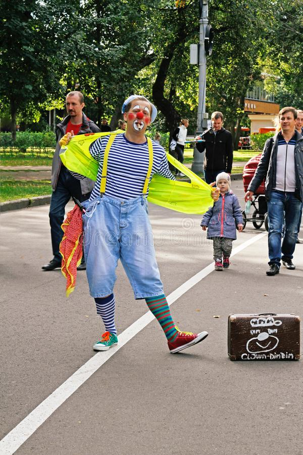 Male clown at festival `Clownfest` in the park Sokolniki in Moscow royalty free stock photo