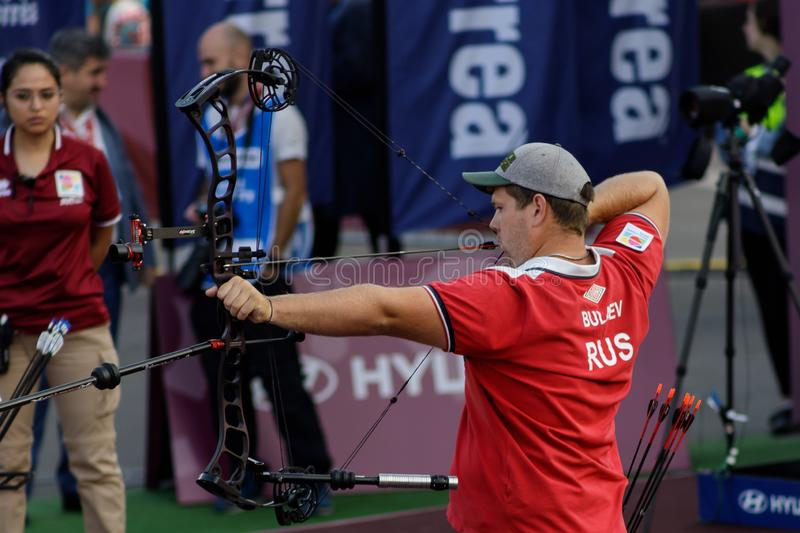 Moscow, Russia, September 06, 2019. MOSCOW HYUNDAI ARCHERY WORLD CUP, men from different countries compete in archery royalty free stock images