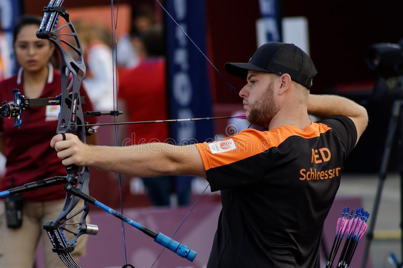 Moscow, Russia, September 06, 2019. MOSCOW HYUNDAI ARCHERY WORLD CUP, men from different countries compete in archery royalty free stock photography