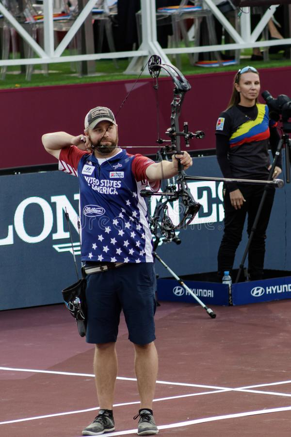 Moscow, Russia, September 06, 2019. MOSCOW HYUNDAI ARCHERY WORLD CUP, men from different countries compete in archery stock photos