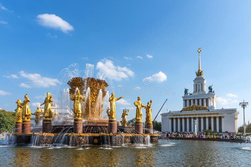 MOSCOW, RUSSIA - SEPTEMBER 22, 2018: Peoples Friendship Fountain and The main pavilion of VDNKh. Pavilion No. 1 Central in Moscow. stock photos