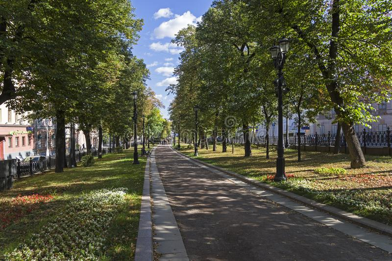 Petrovsky Boulevard. Moscow, Russia. Moscow, Russia - September 17, 2018:  Petrovsky Boulevard. Sunny day in mid-September stock photography
