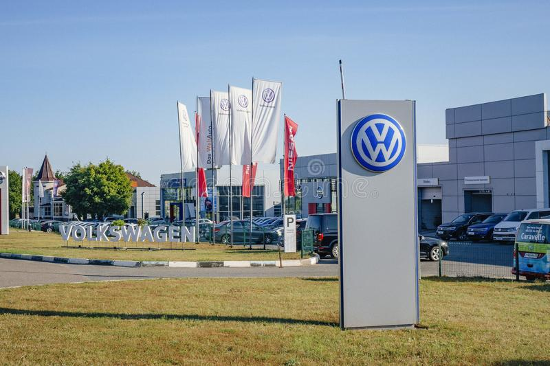 Moscow, Russia - september 1, 2019: Building of Volkswagen car selling and service center with Volkswagen sign stock images