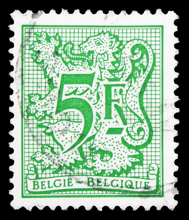 Heraldic lion, Number on Heraldic Lion serie, circa 1979. MOSCOW, RUSSIA - SEPTEMBER 22, 2019: Postage stamp printed in Belgium shows Heraldic lion, Number on royalty free stock photos