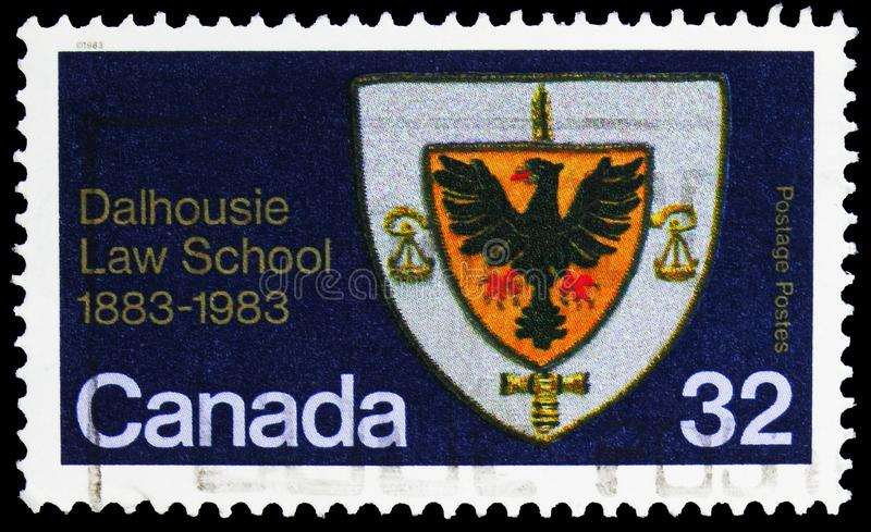 Postage stamp printed in Canada shows Dalhousie Law School Coat of Arms, Dalhousie Law School Centenary serie, circa 1983. MOSCOW, RUSSIA - SEPTEMBER 30, 2019 royalty free stock photography
