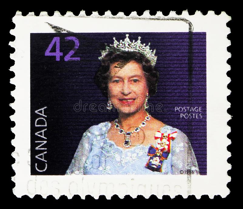 Queen Elizabeth II, Definitives 1985-2000 serie, circa 1991. MOSCOW, RUSSIA - SEPTEMBER 22, 2019: Postage stamp printed in Canada shows Queen Elizabeth II stock images