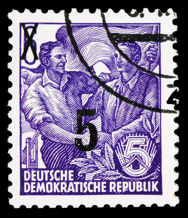 Definitives overprinted, Five-year Plan serie, circa 1954. MOSCOW, RUSSIA - SEPTEMBER 22, 2019: Postage stamp printed in Germany, Democratic Republic, shows stock photos