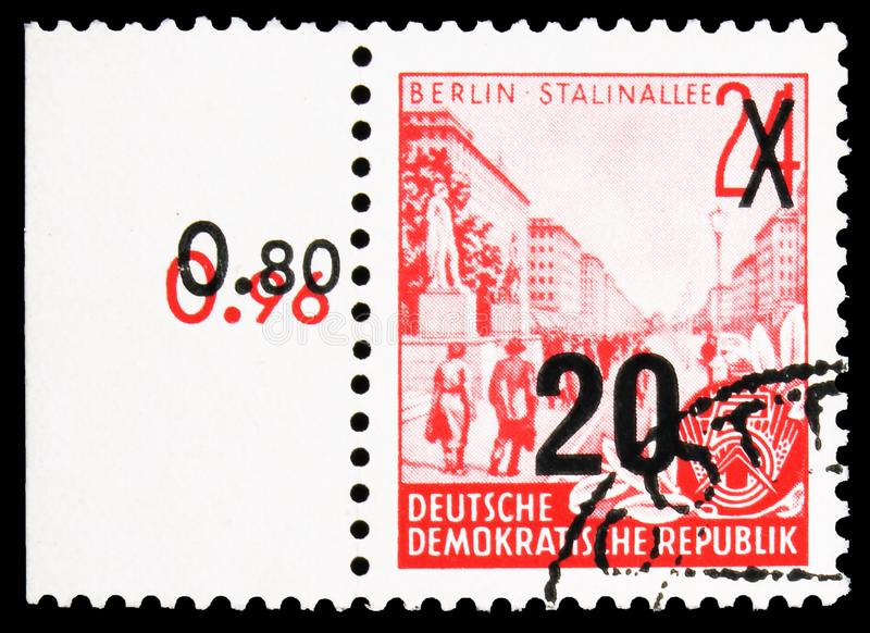 Definitives overprinted, Five-year Plan serie, circa 1957. MOSCOW, RUSSIA - SEPTEMBER 22, 2019: Postage stamp printed in Germany, Democratic Republic, shows royalty free stock image