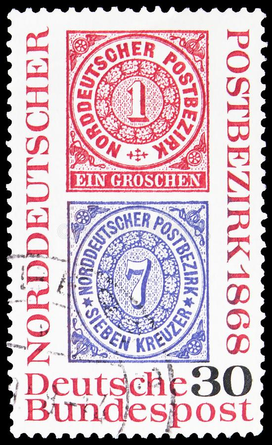 Postage stamp printed in Germany shows North German Post District, Centenary of North German Postal Confederation serie, circa. MOSCOW, RUSSIA - SEPTEMBER 23 royalty free stock photography