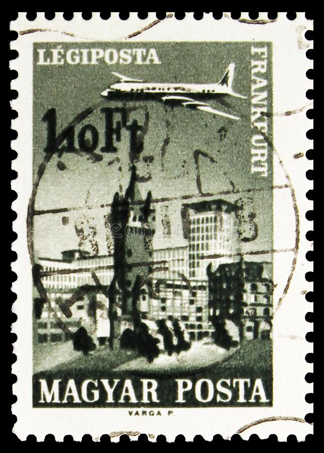 Postage stamp printed in Hungary shows Frankfurt, Airpost, Plane over Cities served by Hungarian Airways serie, circa 1966. MOSCOW, RUSSIA - SEPTEMBER 24, 2019 royalty free stock image