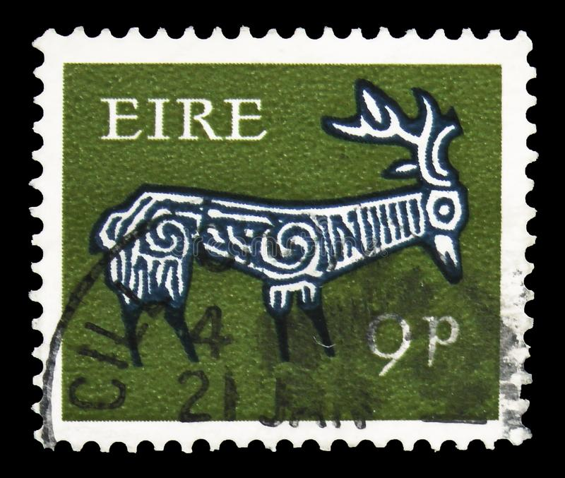 Stylised Stag, 8th Century, Early Irish Art 1968-70 serie, circa 1969. MOSCOW, RUSSIA - SEPTEMBER 22, 2019: Postage stamp printed in Ireland shows Stylised Stag stock photography
