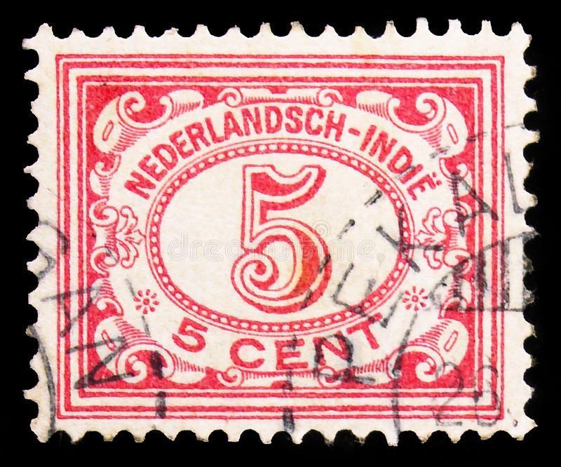 Type `Vurtheim`, Definitives Type `Vürtheim` 1st issue serie, circa 1902. MOSCOW, RUSSIA - SEPTEMBER 22, 2019: Postage stamp printed in Netherlands East royalty free stock images