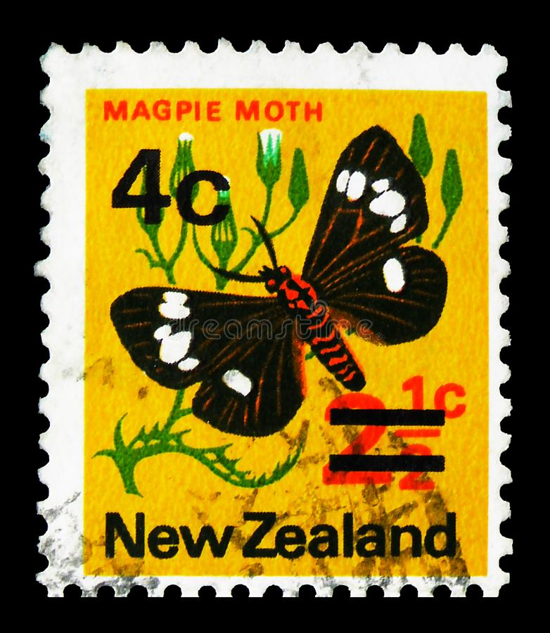 Magpie Moth (Nyctemera annulata), overprint, Pictorial Definitives serie, circa 1974. MOSCOW, RUSSIA - SEPTEMBER 22, 2019: Postage stamp printed in New Zealand stock photo
