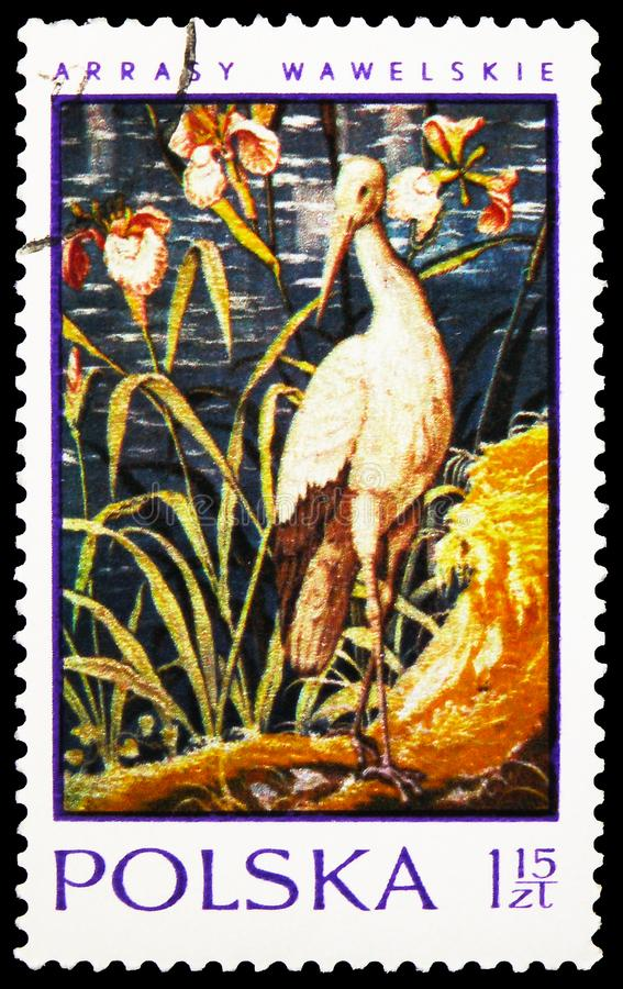 Postage stamp printed in Poland shows Stork, 16th Cent. Tapestries In Wawel Castle serie, circa 1970 stock image