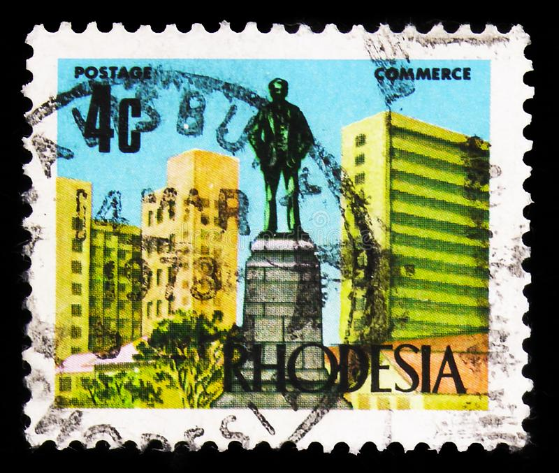 Statue of Cecil Rhodes, Salisbury, New Currency Definitives serie, circa 1973. MOSCOW, RUSSIA - SEPTEMBER 22, 2019: Postage stamp printed in Rhodesia Zimbabwe royalty free stock photo