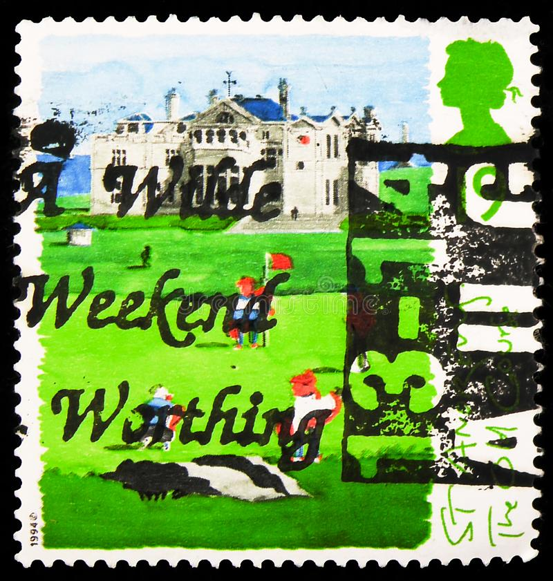 Postage stamp printed in United Kingdom shows The Old Course, 19 p - British penny, Saint Andrews, Scottish Golf Courses serie, royalty free stock image