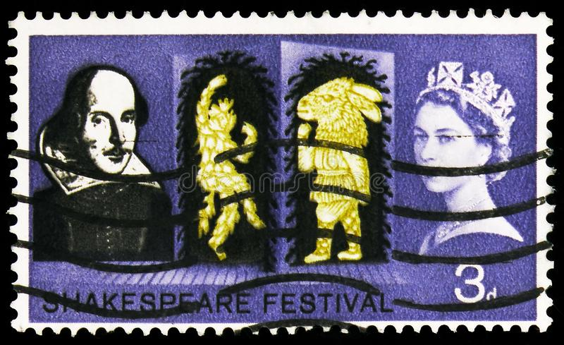 Postage stamp printed in United Kingdom shows Puck and Bottom in A Midsummer Night\'s Dream, Shakespeare Festival serie, circa 196. MOSCOW, RUSSIA - SEPTEMBER 27 royalty free stock images