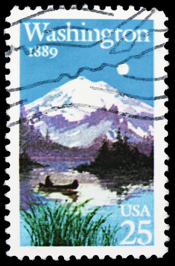 Washington Statehood Centennial, serie, circa 1989. MOSCOW, RUSSIA - SEPTEMBER 22, 2019: Postage stamp printed in United States shows Washington Statehood stock photos