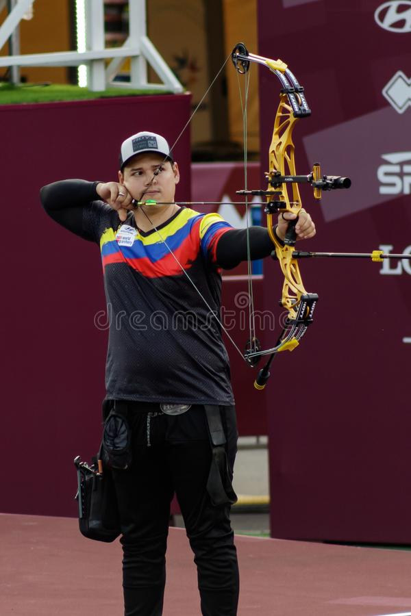 Moscow, Russia, September 06, 2019. MOSCOW HYUNDAI ARCHERY WORLD CUP, men from different countries compete in archery royalty free stock image