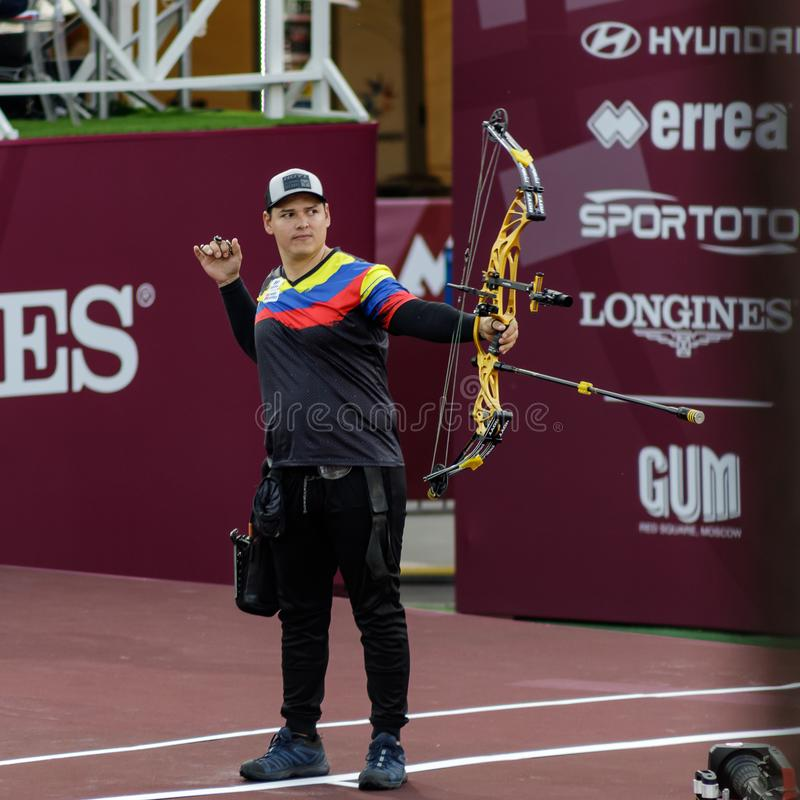 Moscow, Russia, September 06, 2019. MOSCOW HYUNDAI ARCHERY WORLD CUP, men from different countries compete in archery stock images