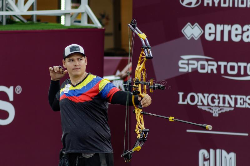 Moscow, Russia, September 06, 2019. MOSCOW HYUNDAI ARCHERY WORLD CUP, men from different countries compete in archery stock photo