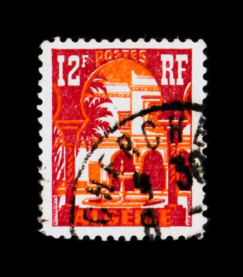 Patio of Bardo Museum, Bardo Museum serie, Algeria circa 1954. MOSCOW, RUSSIA - SEPTEMBER 3, 2017: A stamp printed in Algeria shows Patio of Bardo Museum, Bardo royalty free stock images