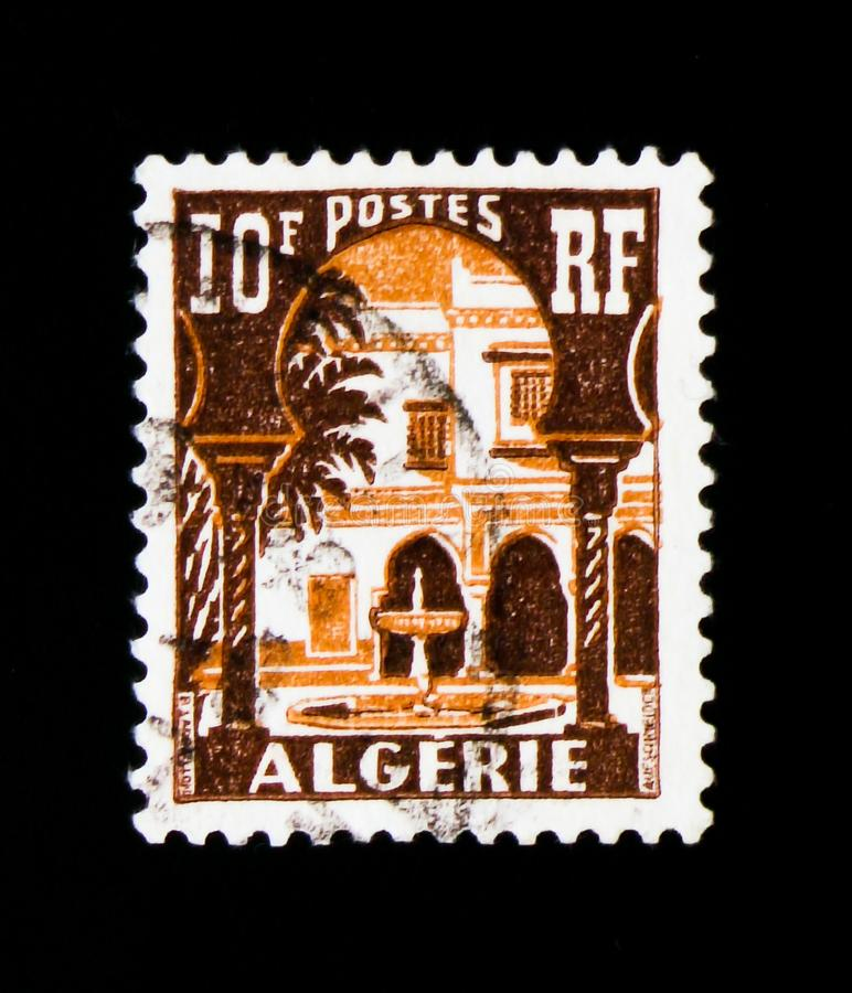 Patio of Bardo Museum, Bardo Museum serie, circa 1954. MOSCOW, RUSSIA - SEPTEMBER 3, 2017: A stamp printed in Algeria shows Patio of Bardo Museum, Bardo Museum royalty free stock image